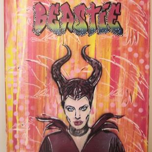 Art: Maleficent Angelina Jolie Original Pop Urban Graffiti Spray Art by Artist Paul Lake, Lucky Studios