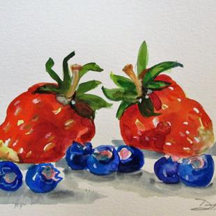 Art: Strawberries and Blueberries by Artist Delilah Smith
