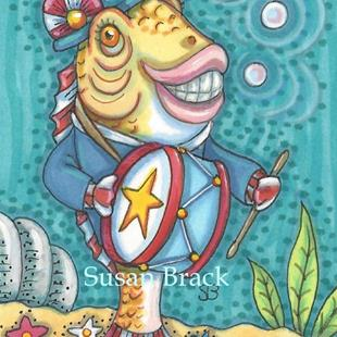 Art: 4TH OF JULY YANKEE DOODLE FISH TALE by Artist Susan Brack