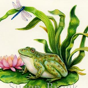 Art: FROG AND FIREFLIES by Artist Susan Brack