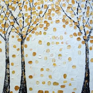 Art: Gold Birch trees by Artist LUIZA VIZOLI