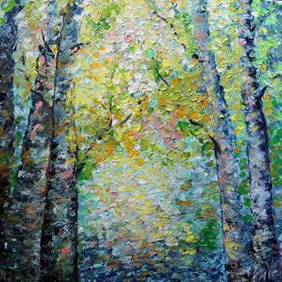 Art: BIRCH TREES IN THE SPRING by Artist LUIZA VIZOLI
