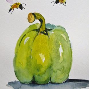 Art: Green Pepper and Bees by Artist Delilah Smith