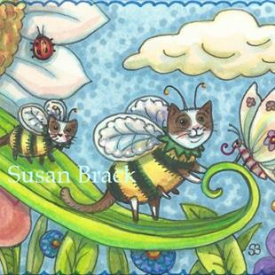 Art: BUMBLECATS - BUTTERFLY GREETINGS by Artist Susan Brack