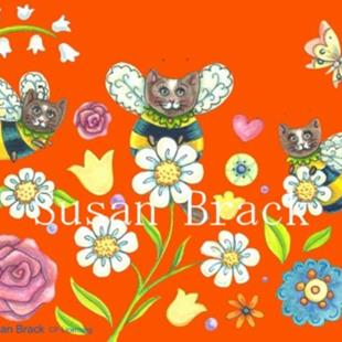 Art: PLANT A BUMBLECAT GARDEN - ORANGE by Artist Susan Brack