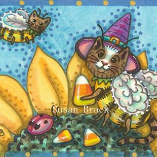 Art: BUMBLECATS AND CANDY CORN by Artist Susan Brack