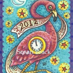 Art: HAPPY FLAMINGO NEW YEAR! by Artist Susan Brack