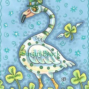 Art: LUCK OF AN IRISH FLAMINGO by Artist Susan Brack