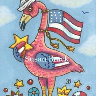 Art: FLAMINGO FLAG POLE by Artist Susan Brack