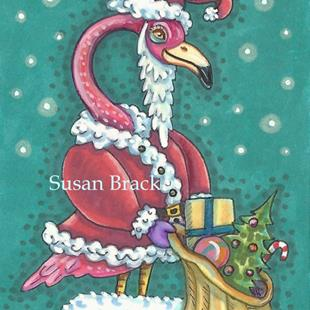 Art: HOT PINK SANTA by Artist Susan Brack