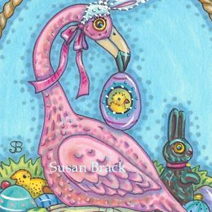 Art: EASTER BASKET FLAMINGO by Artist Susan Brack