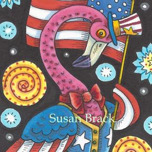 Art: OLD GLORY FLAMINGO by Artist Susan Brack