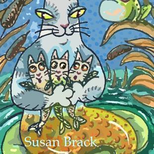 Art: HISS N FITZ - MERCATS AND CATTAILS by Artist Susan Brack