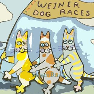 Art: HISS N FITZ - WEINER DOG RACES cropped by Artist Susan Brack