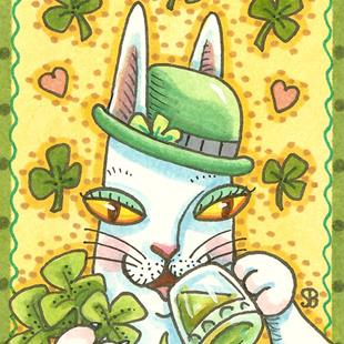 Art: HISS N FITZ - SHAMROCKS AND GREEN BEER by Artist Susan Brack