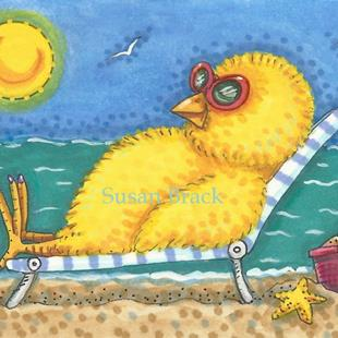 Art: DAY AT THE BEACH CHICK by Artist Susan Brack