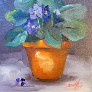 Art: Pot of Violets by Artist Delilah Smith