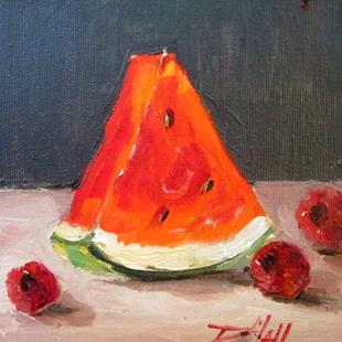 Art: Watermelon and Raspberries by Artist Delilah Smith