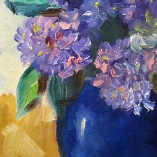 Art: Hydrangea's in a Blue Vase by Artist Delilah Smith