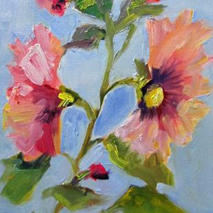 Art: Hollyhocks by Artist Delilah Smith