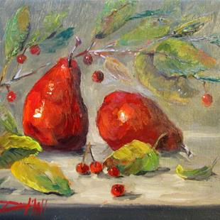 Art: Red Pears and Crab Apples by Artist Delilah Smith