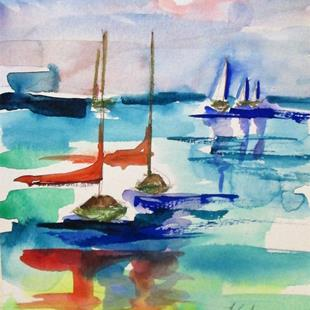 Art: Sailboats No. 15 by Artist Delilah Smith