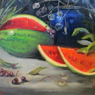 Art: Watermelon Still Life by Artist Delilah Smith