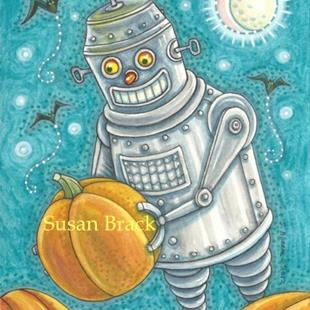 Art: ROBO PUMPKIN PICKER by Artist Susan Brack