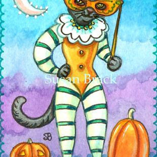 Art: BLACK CAT MASQUERADE by Artist Susan Brack