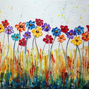 Art: RAINBOW Flowers by Artist LUIZA VIZOLI