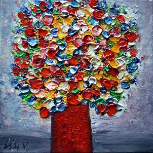 Art: Flowers Bouquet Red vase by Artist LUIZA VIZOLI
