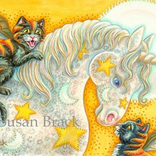 Art: WITCH'S FLAMING BAT CATS AND UNICORN by Artist Susan Brack