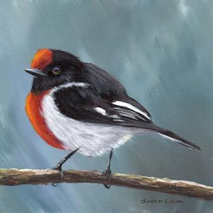 Art: Red Capped Robin No 5 by Artist Janet M Graham