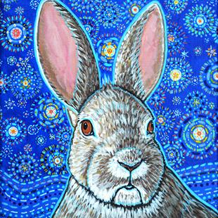 Art: Starry Night Bunny Rabbit by Artist Melinda Dalke