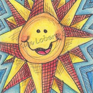 Art: Crazy Retro Sun by Artist Kim Loberg
