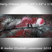 Art: Starry Crimson Night (sold) by Amber Elizabeth Lamoreaux