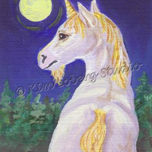 Art: Pale Moon Unicorn by Artist Kim Loberg