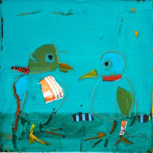 Art: Birds With Scarves by Artist Gabriele Maurus