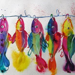 Art: Big Fish on a Hook by Artist Delilah Smith