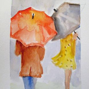 Art: Rainy Day Umbrellas by Artist Delilah Smith