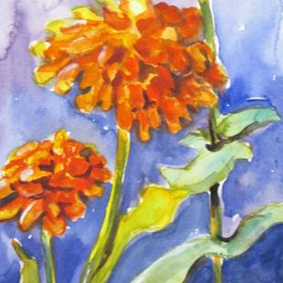 Art: Zinnias by Artist Delilah Smith