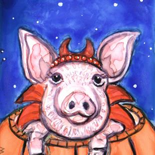 Art: Devilish Piggy by Artist Melinda Dalke