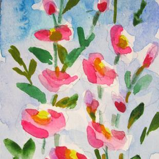 Art: Hollyhocks No. 2-sold by Artist Delilah Smith