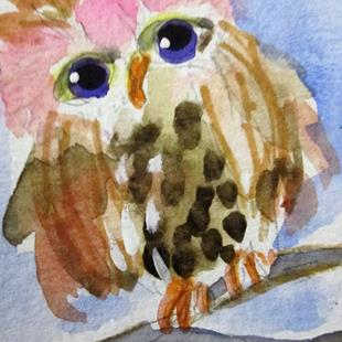 Art: Little Girl Owl-sold by Artist Delilah Smith