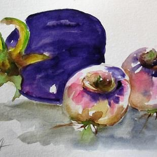 Art: Eggplant and Turnips by Artist Delilah Smith