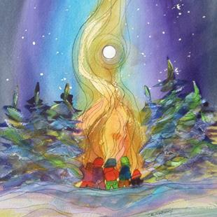 Art: Bonfire Buddies by Artist Kathy Crawshay