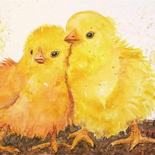 Art: Fluffy Baby Chicks - Sold by Artist Ulrike 'Ricky' Martin