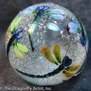 Art: Hand Blown Spring Pastel Dragonflies Glass Ornament 1393098-1002 by Artist Rebecca M Ronesi-Gutierrez