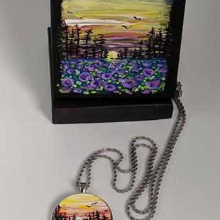 Art: Handpainted Pendant with Necklace and Gift Box by Artist Dana Marie