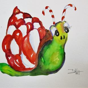 Art: Candy Cane Snail by Artist Delilah Smith